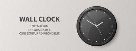 Vector 3d Realistic Black Wall Office Clock on Textured White Wall Background. Design Template, Banner with Office Clock with Black Dial in Interior. Mock-up for Branding 矢量图像