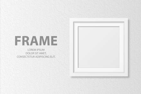 Vector 3d Realistic Blank White Square Wooden Simple Modern Frame on White Textured Wall Background. It Can Be Used for Presentations. Design Template for Mockup, Front View