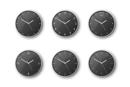 Vector 3d Realistic Grey Silver, Steel Metal Wall Office Clock Icon Set Isolated on White. Black Dial. Design Template of Wall Clock Closeup. Mock-up for Branding and Advertise. Top, Front View 矢量图像