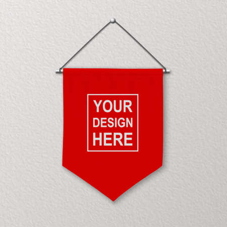 Vector 3d Realistic Blank Red Pennant Wall Hanging, Design Template, Mockup. Linen Pennant Closeup on Textured Wall. Empty Fabric Flag, Advertising Canvas Banner