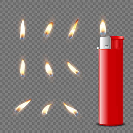 Vector 3d Realistic Blank Red Gasoline Lighter and Burning Flame Icon Set Closeup Isolated. Fire from a Lighter. Design Template of Lighter Flame. Front View