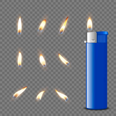 Vector 3d Realistic Blank Blue Gasoline Lighter and Burning Flame Icon Set Closeup Isolated. Fire from a Lighter. Design Template of Lighter Flame. Front View