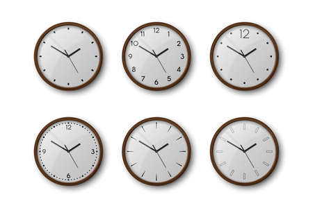 Vector 3d Realistic Brown Wooden Wall Office Clock Icon Set Isolated on White. White Dial. Design Template of Wall Clock Closeup. Mock-up for Branding and Advertise. Top, Front View
