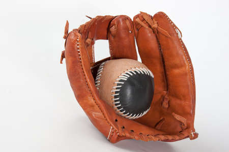 ボールで野球のグローブ 写真素材
