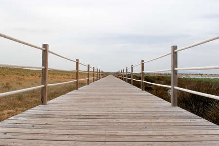 brige: wooden bridge with rope handrail in perspective