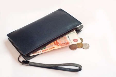 Leather purse with money Russian