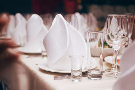 Tableware, glasses for wine, appetizer and white napkin