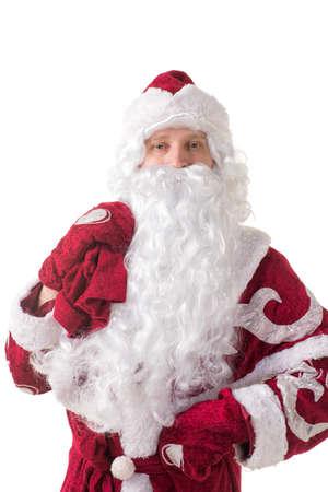 snegurochka: Portrait of Santa Claus in a red cap and a long white beard Stock Photo