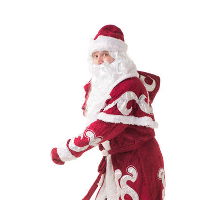Running Santa Claus with gifts