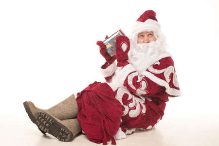 ded moroz: Portrait of Santa Claus in a red cap and a long white beard Stock Photo