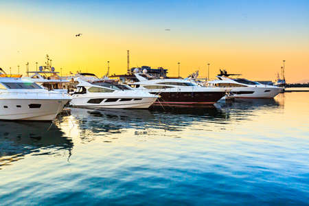 Luxury yachts docked in sea port at sunset. Marine parking. Travel and fashionable vacation. Standard-Bild