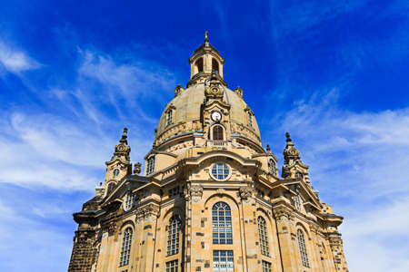 Dresden Frauenkirche (Church of Our Lady) is Lutheran Church of Saxony, Dresden, Germany. Baroque building, Protestant architecture, dome Stone Bell. External structure of rebuilt church. Tourism. Stock Photo