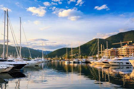 Luxury yacht marina at sunset. Port Montenegro in Bay of Kotor, Tivat.