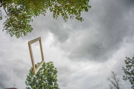 reminding: wooden frame on the sky reminding of old memory Stock Photo