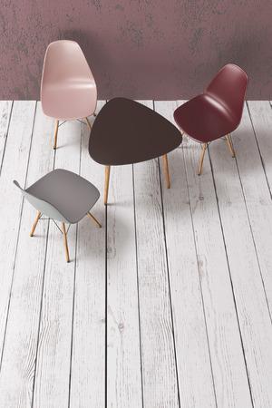 Moderna muebles de café en el suelo de tablones de madera, vista superior