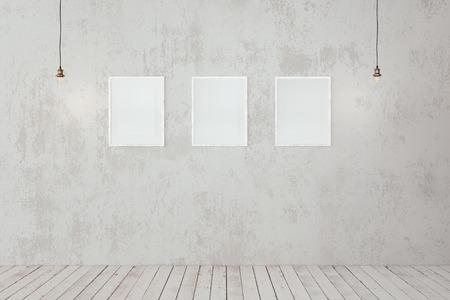 Mock up of blank photo frames on concrete wall, edison pendant lamps, loft minimalist interior