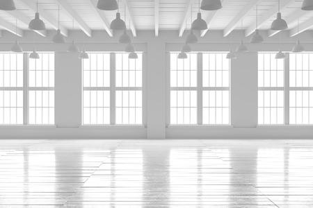 Chambre vide blanche avec grandes fenêtres et parquet. Loft intérieur maquette. L'espace vide de la maison ou du bureau. 3d rendent une image de haute qualité.