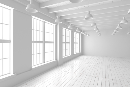 Habitación blanca con grandes ventanas y piso de madera. Loft interior simulacro. Hogar o espacio en blanco de la oficina. 3d rinden imagen de alta calidad. Foto de archivo - 67945815