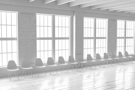 Weiße Leere Halle Mit Großen Fenstern, Bretterboden Und Backsteinmauern.  Minimalistisches Loft Raummodell.