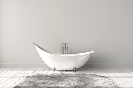 Blank bright bathroom with wooden floors, carpet and a large bathtub. Minimalistic loft bathroom mockup. 3d render high quality image. Stock Photo