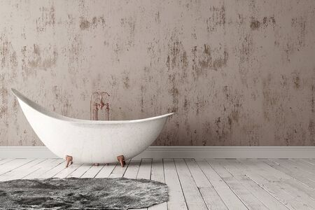 3D rendering of blank bathroom with deep-piled carpet on the wooden floor in front of painted rough wall