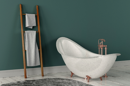 3D rendering of bathroom with wooden towels and deep-piled carpet on the wooden floor in front of painted wall Stock Photo