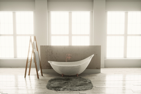 cooper: 3D rendering of bathtub with wooden towel and deep-piled carpet on a wooden floor in front of large windows Stock Photo