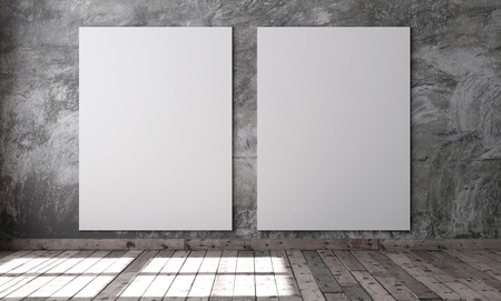 Mockup template for display or montage of product. 3d rendering of empty room with gray cement plaster on the wall and brown wooden floor. High quality image. 3D rendering.