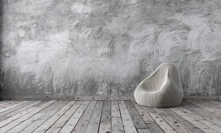 Loft studio mock up in minimalism style with gray cement plaster and wooden floor. 3D rendering. Stock fotó
