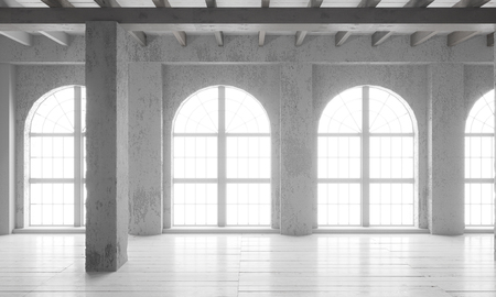 Empty room with big windows, parquet floors and rough walls. Mock up template for office or studio. Stock fotó