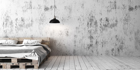A loft style bedroom with recycled pallet bed. White eco design scheme is bright and minimalistic.