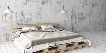 floorboards: A industrial style bedroom with recycled pallet bed. White eco design scheme is bright and minimalistic.