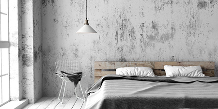 A industrial style bedroom with recycled pallet bed. White eco design scheme is bright and minimalistic.