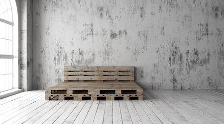 Ein industrieller Stil Schlafzimmer mit Recycling-Paletten Bettrahmen Designs Standard-Bild