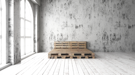 floorboards: A industrial style bedroom with recycled pallet bed frame designs
