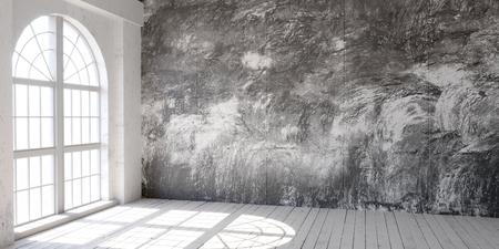 Bright empty loft space with big windows. 3D render.