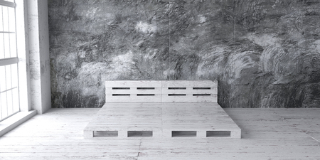 A loft style bedroom mock up with recycled pallet bed frame designs. 3D render. Stock fotó