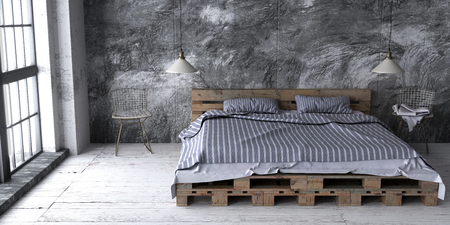 A loft style bedroom with recycled pallet bed. Bricht eco design scheme is bright and minimalistic. 3D render.