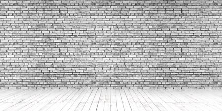 Bright empty place with wooden floors and brick wall. Mock up template for display or montage of product. Studio or office blank space. 3D render  Stock fotó
