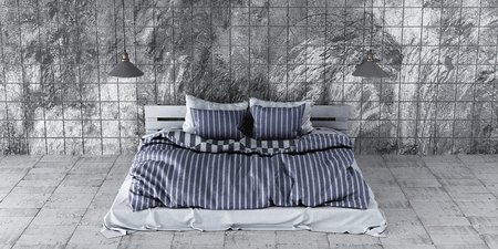 A modern style bedroom with recycled pallet bed. Gray design scheme is contemporary and minimalistic. 3D render.