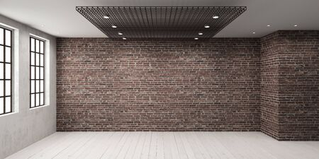 Empty room with big window in loft style. Wooden floor and brick wall in a modern interior. Stock fotó