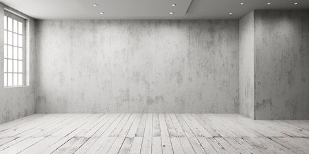 White empty room with big window in loft style. Wooden floor and rough wall in a modern interior.