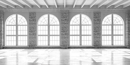 White empty hall with big arched window in loft style. Shiplap wooden floor and brick wall interior mockup. Stock fotó
