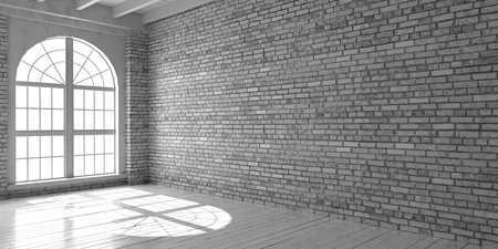White empty room with big arched window in loft style. Wooden floor and brick wall in a modern interior. Stock fotó