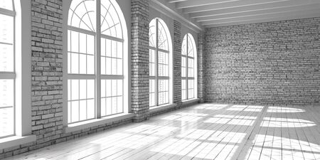 White empty studio with big arched window in loft style. Wooden floor and brick wall in a modern interior.