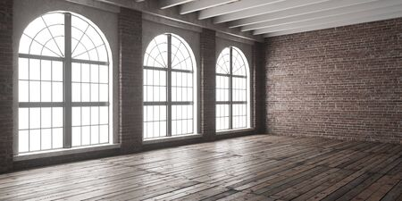 Large empty room in loft style with big arched windows.  Interior mock up with wooden floor and brick wall. 3D render. Фото со стока