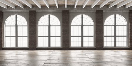 Large empty room in loft style with big arched windows.  Interior mock up with wooden floor and brick wall. 3D render. Banco de Imagens