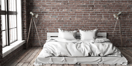 Minimalistik bedroom mock up in loft style with big arched windows and wooden floor and brick walls. 3D render. Stock fotó