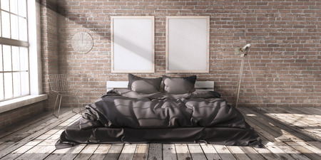 Minimalistik bedroom mock up in loft style in the rays of sunlight with big windows and wooden floor and brick walls. 3D Rendering.