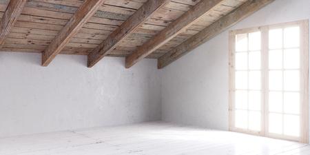 White empty room in attic with wooden door and lumber roof. 3D rendering. Stock fotó